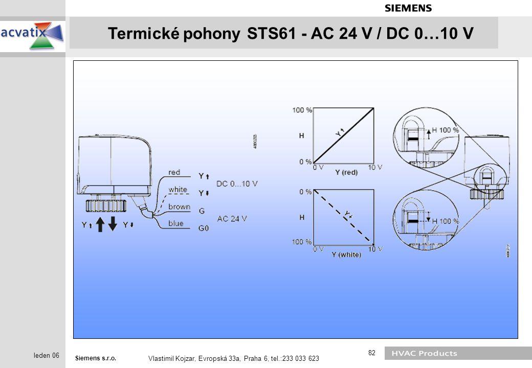 Siemens s.r.o. Vlastimil Kojzar, Evropská 33a, Praha 6, tel.:233 033 623 82 leden 06 Termické pohony STS61 - AC 24 V / DC 0…10 V