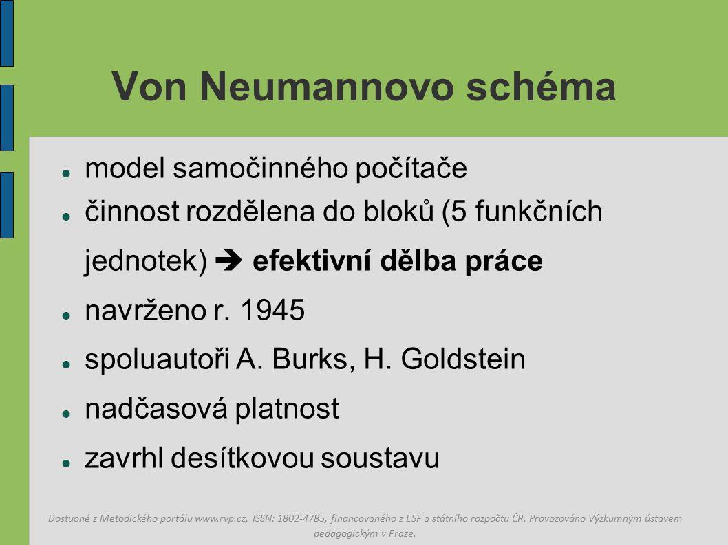 Von Neumannovo schéma model samočinného počítače činnost rozdělena do bloků (5 funkčních jednotek)  efektivní dělba práce navrženo r.