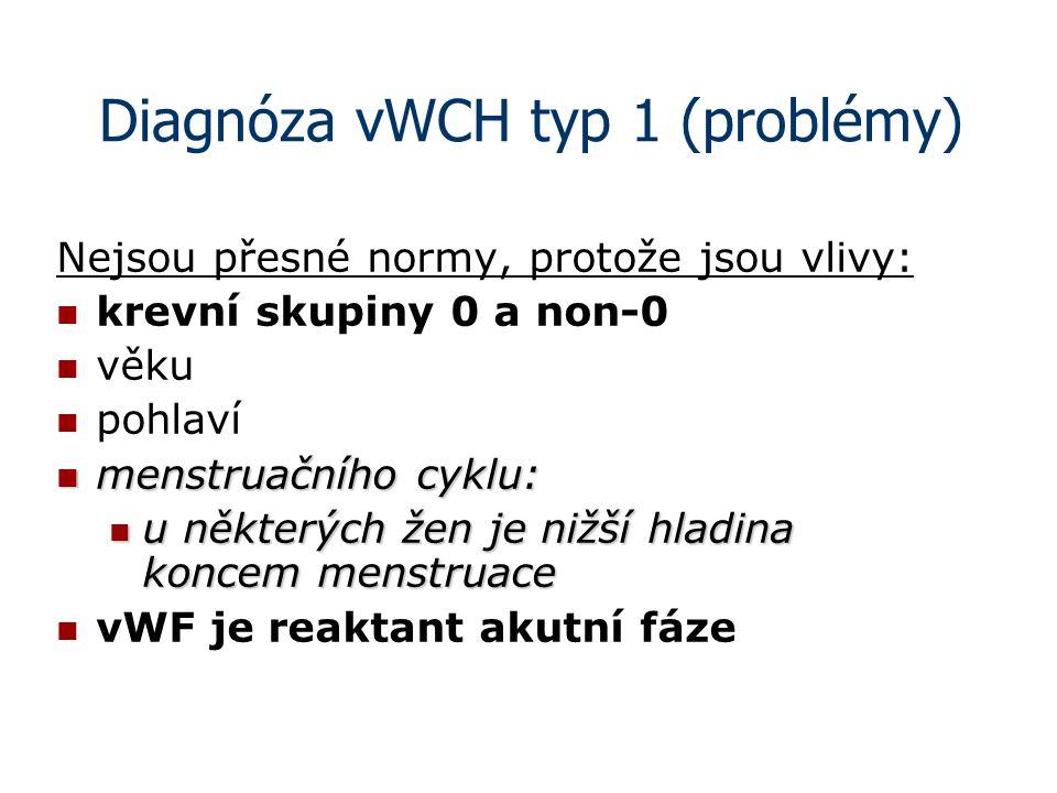 Diagnóza vWCH typ 1 (problémy) Nejsou přesné normy, protože jsou vlivy: krevní skupiny 0 a non-0 věku pohlaví menstruačního cyklu: menstruačního cyklu