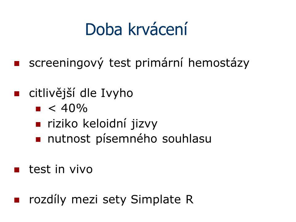 Doba krvácení screeningový test primární hemostázy citlivější dle Ivyho < 40% riziko keloidní jizvy nutnost písemného souhlasu test in vivo rozdíly me