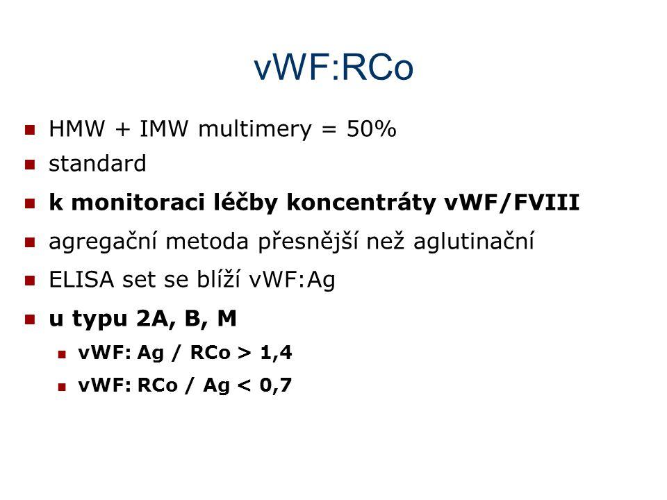 vWF:RCo HMW + IMW multimery = 50% standard k monitoraci léčby koncentráty vWF/FVIII agregační metoda přesnější než aglutinační ELISA set se blíží vWF:
