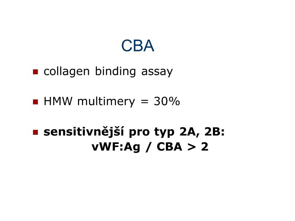 RIPA (ristocetinem indukovaná destičková agregace) ristocetin 1 – 1,5 mg /ml -  u typu 3, 2A (2M, 1) ristocetin 0,3 – 0,5 mg /ml - pozitivita agregace: - typ 2B - destičkový typ