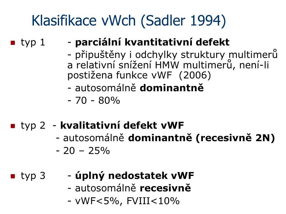 Klasifikace vWch (Sadler 1994) typ 1 - parciální kvantitativní defekt - připuštěny i odchylky struktury multimerů a relativní snížení HMW multimerů, n