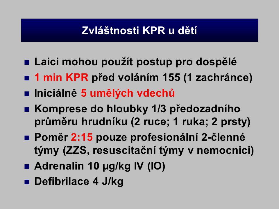 Zvláštnosti KPR u dětí n Laici mohou použít postup pro dospělé n 1 min KPR před voláním 155 (1 zachránce) n Iniciálně 5 umělých vdechů n Komprese do h