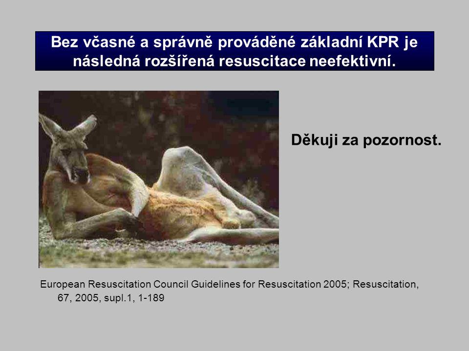 Bez včasné a správně prováděné základní KPR je následná rozšířená resuscitace neefektivní. European Resuscitation Council Guidelines for Resuscitation
