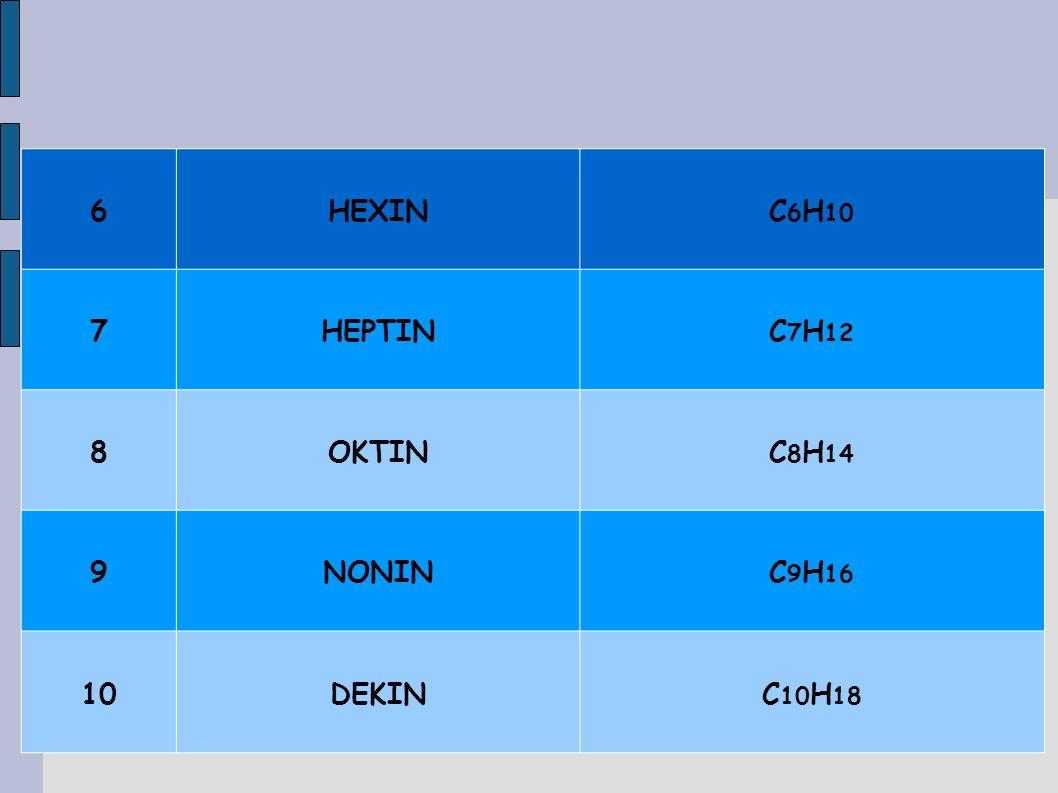 6HEXINC 6 H 10 7HEPTINC 7 H 12 8OKTINC 8 H 14 9NONINC 9 H 16 10DEKINC 10 H 18