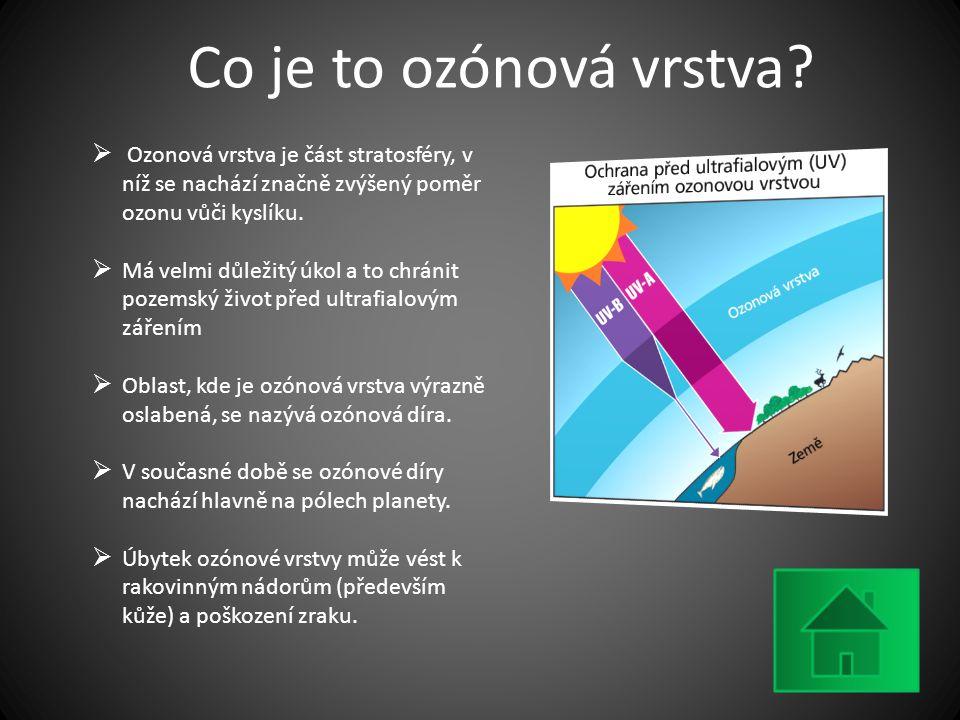 Co je to ozónová vrstva?  Ozonová vrstva je část stratosféry, v níž se nachází značně zvýšený poměr ozonu vůči kyslíku.  Má velmi důležitý úkol a to