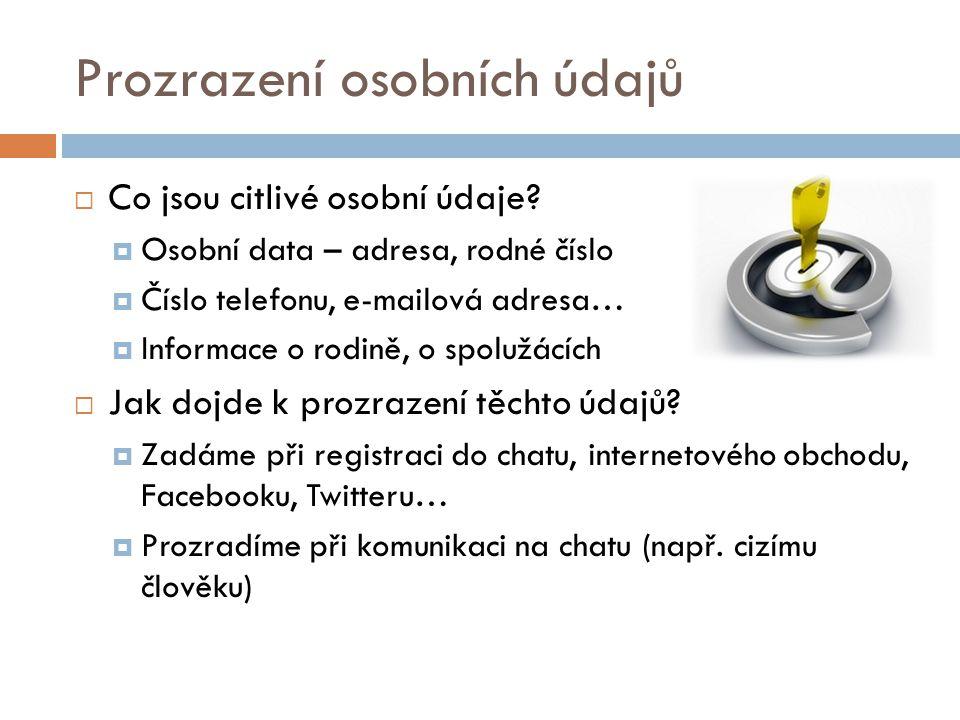 Prozrazení osobních údajů  Co jsou citlivé osobní údaje.