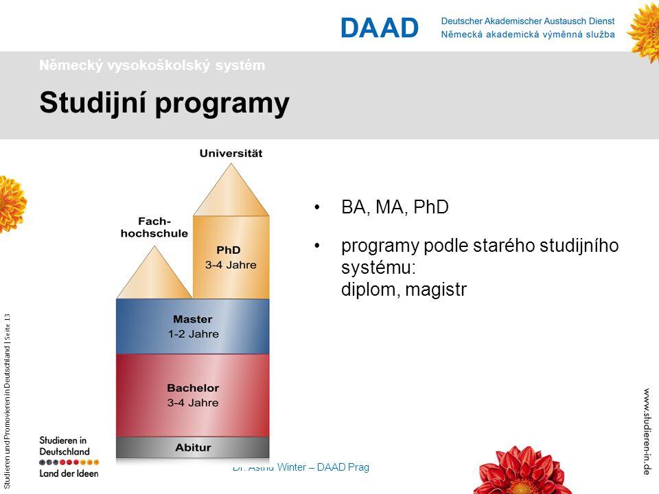 Studieren und Promovieren in Deutschland   Seite 13 Dr. Astrid Winter – DAAD Prag Studijní programy Německý vysokoškolský systém BA, MA, PhD programy