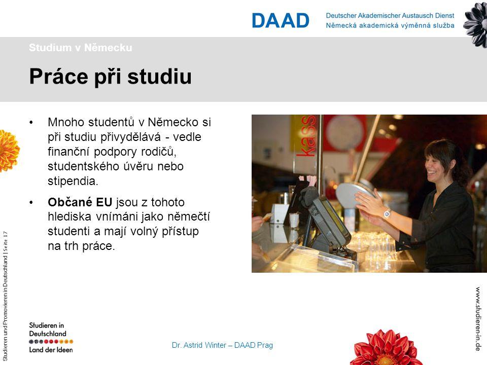 Studieren und Promovieren in Deutschland   Seite 17 Dr. Astrid Winter – DAAD Prag Práce při studiu Studium v Německu Mnoho studentů v Německo si při s