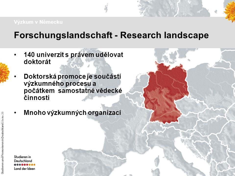 Studieren und Promovieren in Deutschland   Seite 23 Dr. Astrid Winter – DAAD Prag Výzkum v Německu 140 univerzit s právem udělovat doktorát Doktorská