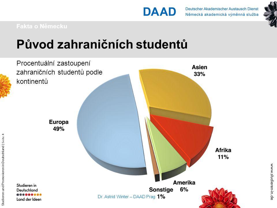 Studieren und Promovieren in Deutschland   Seite 4 Dr. Astrid Winter – DAAD Prag Původ zahraničních studentů Fakta o Německu Procentuální zastoupení z
