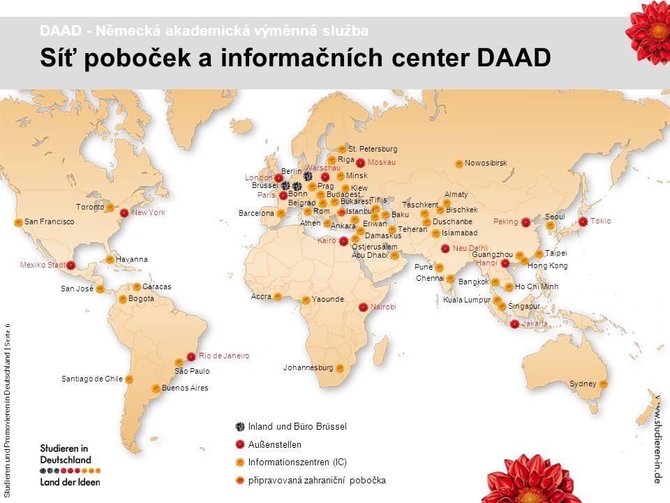 Studieren und Promovieren in Deutschland   Seite 6 Dr. Astrid Winter – DAAD Prag New York Mexiko Stadt Moskau London Kairo Nairobi Rio de Janeiro Jaka