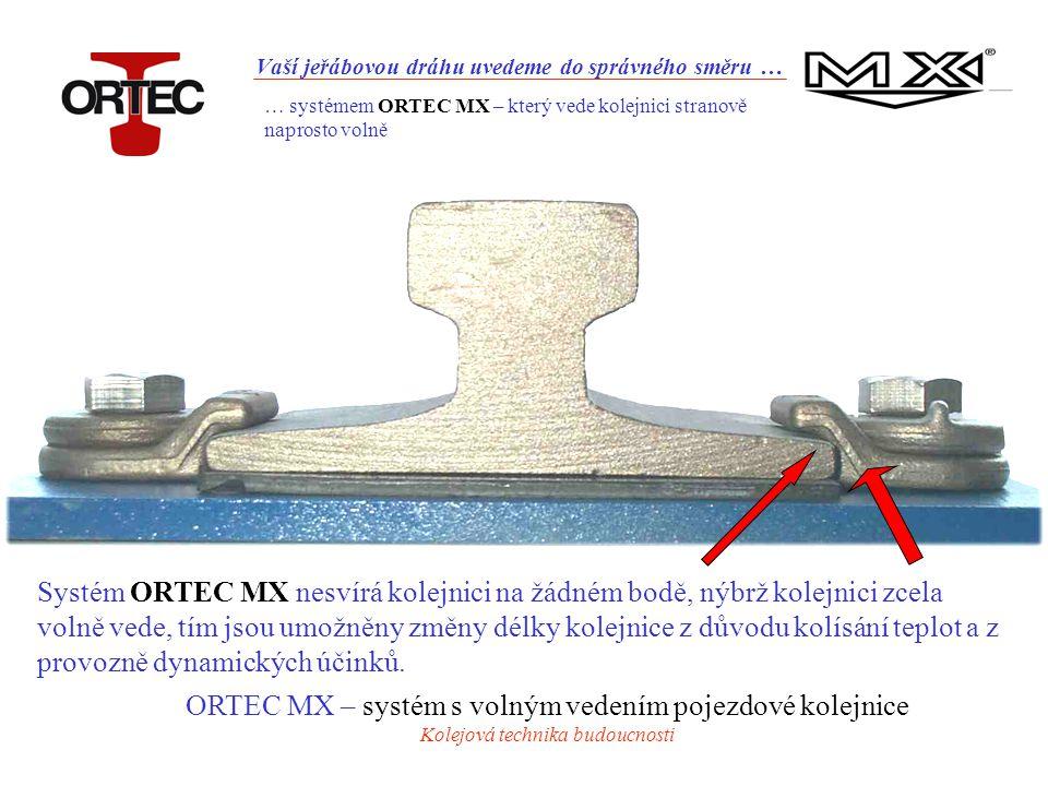 Vaší jeřábovou dráhu uvedeme do správného směru … Systém ORTEC MX nesvírá kolejnici na žádném bodě, nýbrž kolejnici zcela volně vede, tím jsou umožněny změny délky kolejnice z důvodu kolísání teplot a z provozně dynamických účinků.