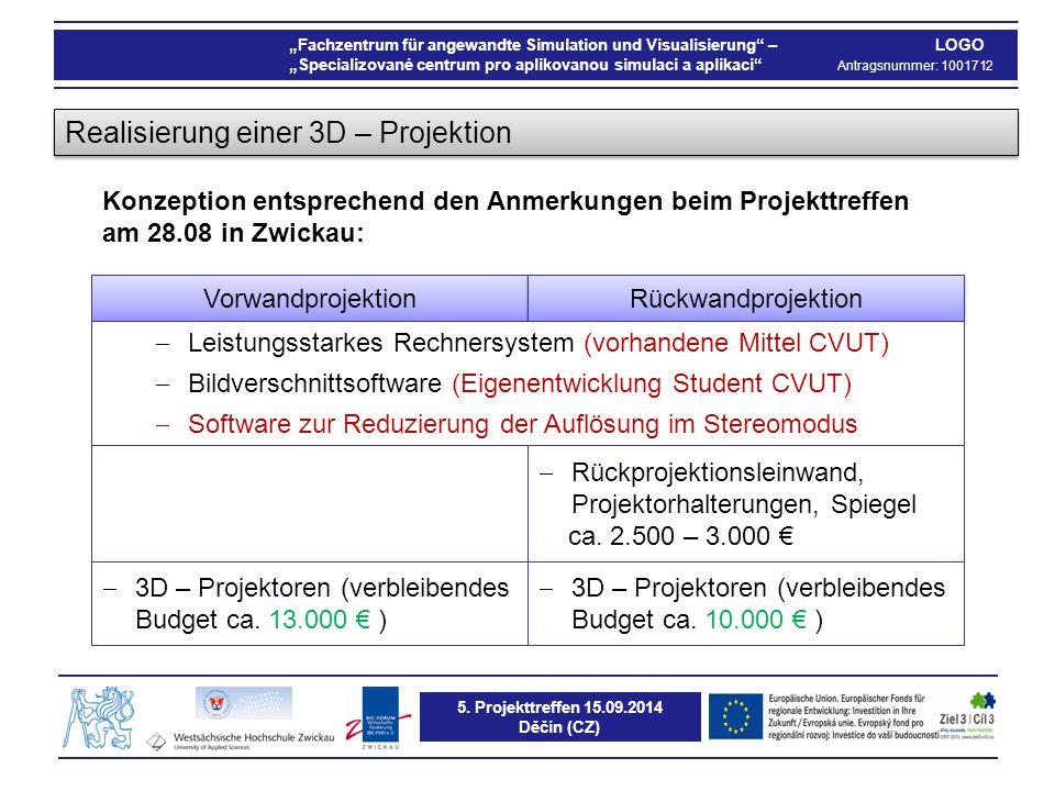 """5. Projekttreffen 15.09.2014 Děčín (CZ) """"Fachzentrum für angewandte Simulation und Visualisierung"""" – LOGO """"Specializované centrum pro aplikovanou simu"""