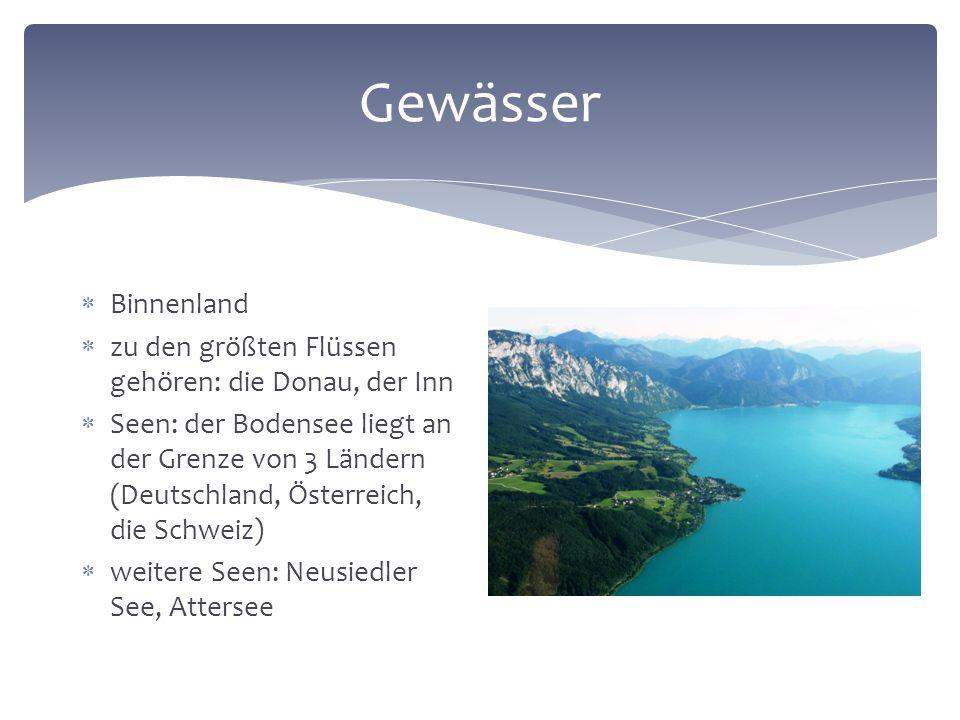 Gewässer  Binnenland  zu den größten Flüssen gehören: die Donau, der Inn  Seen: der Bodensee liegt an der Grenze von 3 Ländern (Deutschland, Österreich, die Schweiz)  weitere Seen: Neusiedler See, Attersee