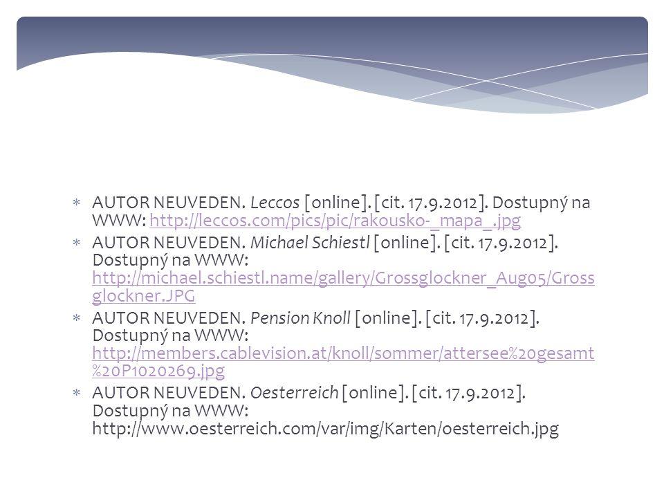 AUTOR NEUVEDEN. Leccos [online]. [cit. 17.9.2012].