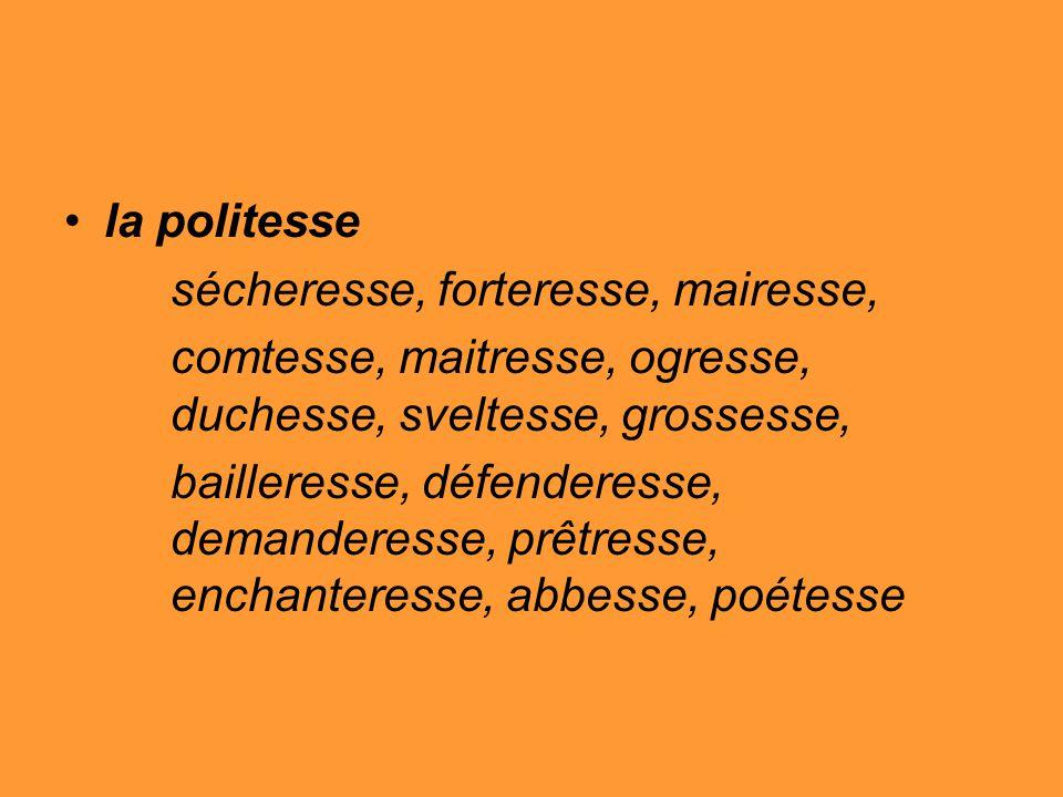 la politesse sécheresse, forteresse, mairesse, comtesse, maitresse, ogresse, duchesse, sveltesse, grossesse, bailleresse, défenderesse, demanderesse, prêtresse, enchanteresse, abbesse, poétesse