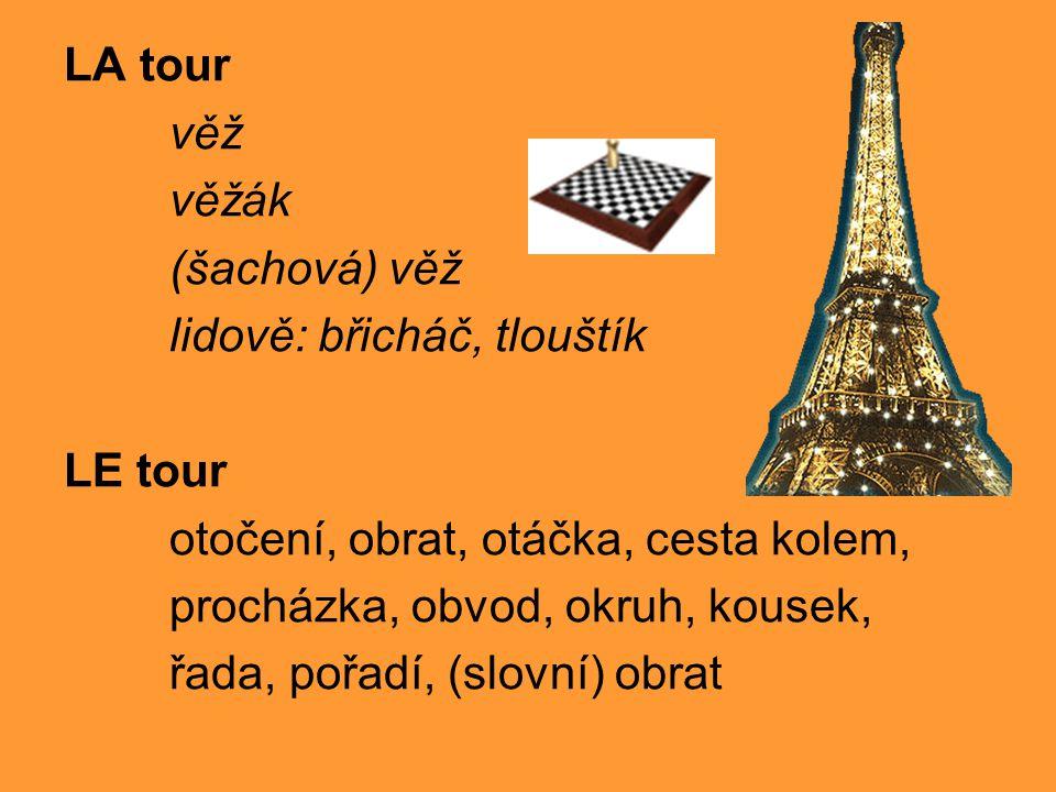LA tour věž věžák (šachová) věž lidově: břicháč, tlouštík LE tour otočení, obrat, otáčka, cesta kolem, procházka, obvod, okruh, kousek, řada, pořadí, (slovní) obrat
