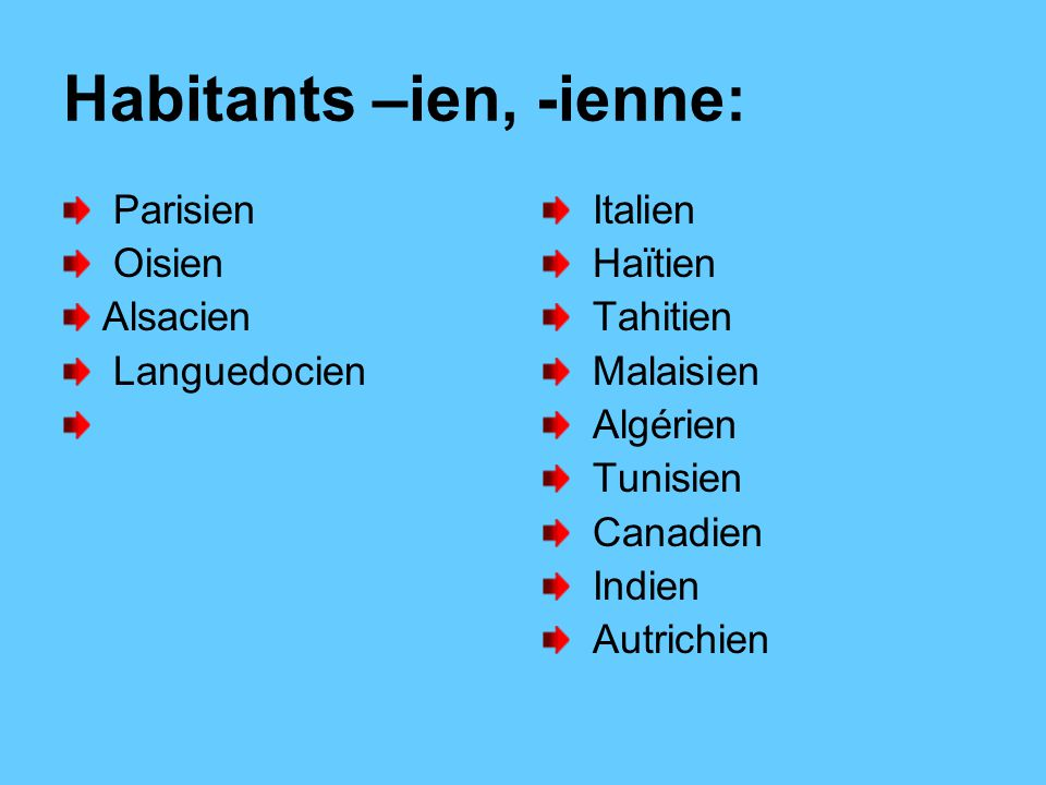 Habitants –ien, -ienne: Parisien Oisien Alsacien Languedocien Italien Haïtien Tahitien Malaisien Algérien Tunisien Canadien Indien Autrichien