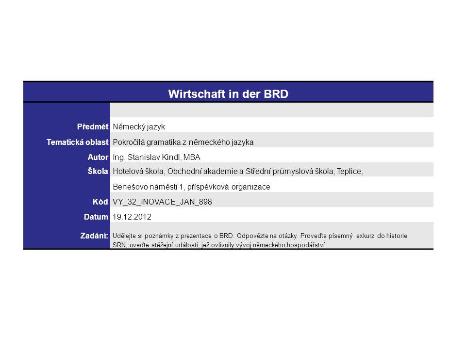 Wirtschaft in der BRD PředmětNěmecký jazyk Tematická oblastPokročilá gramatika z německého jazyka AutorIng.