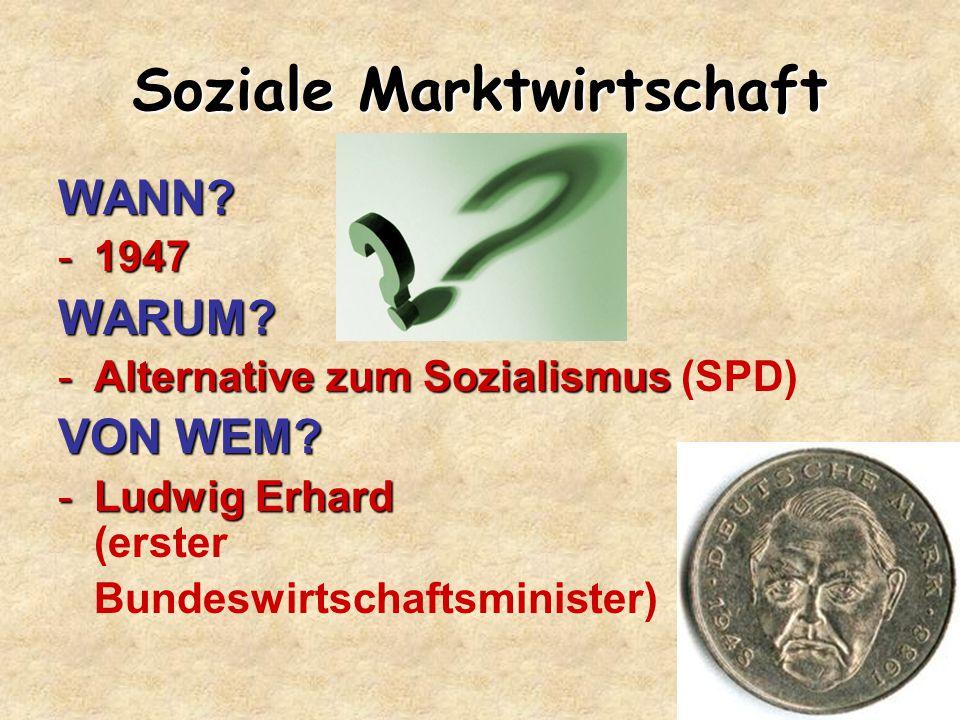 Soziale Marktwirtschaft WANN? -1947 WARUM? -Alternative zum Sozialismus -Alternative zum Sozialismus (SPD) VON WEM? -Ludwig Erhard -Ludwig Erhard (ers