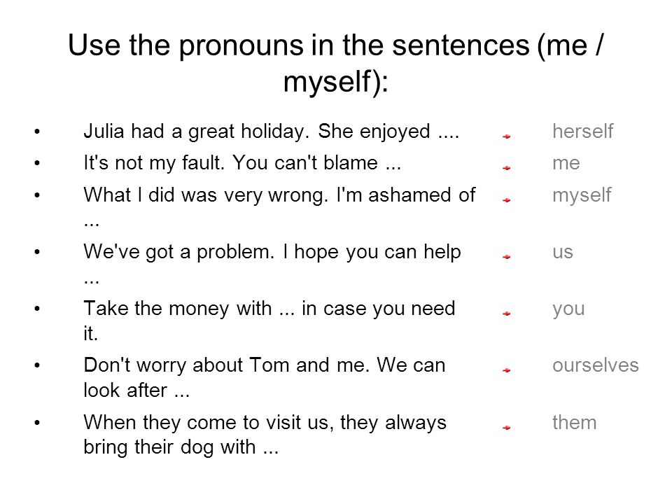Use the pronouns in the sentences (me / myself): Julia had a great holiday.