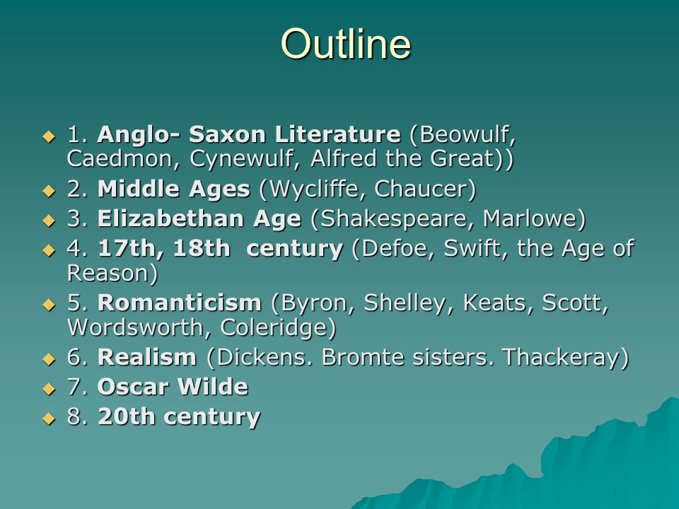 Outline  1. Anglo- Saxon Literature (Beowulf, Caedmon, Cynewulf, Alfred the Great))  2. Middle Ages (Wycliffe, Chaucer)  3. Elizabethan Age (Shakes