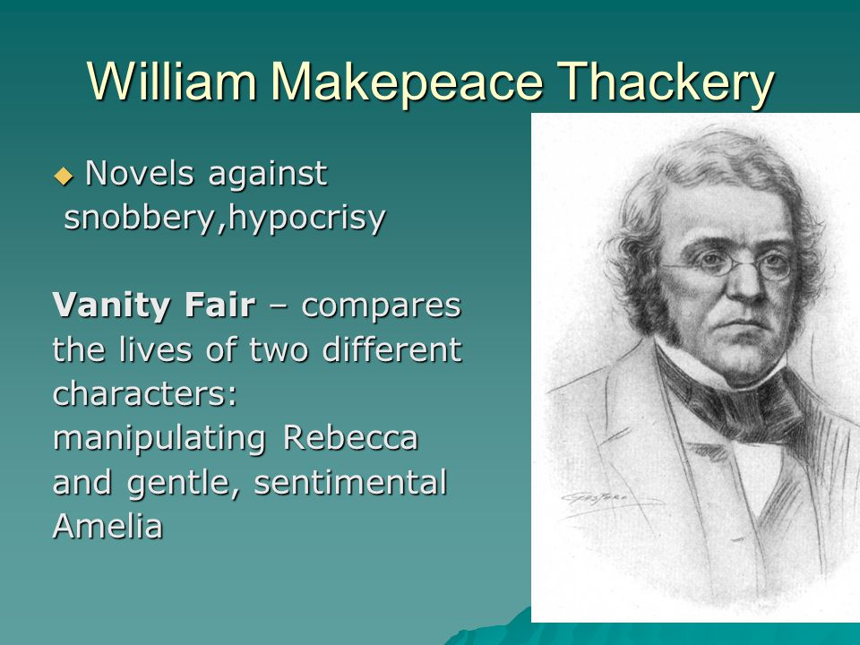 William Makepeace Thackery  Novels against snobbery,hypocrisy snobbery,hypocrisy Vanity Fair – compares the lives of two different characters: manipu