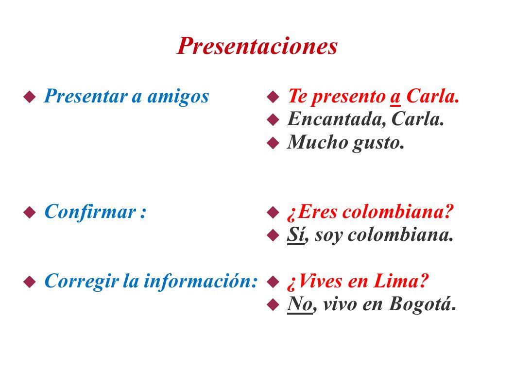 Presentaciones  Presentar a amigos  Confirmar :  Corregir la información:  Te presento a Carla.