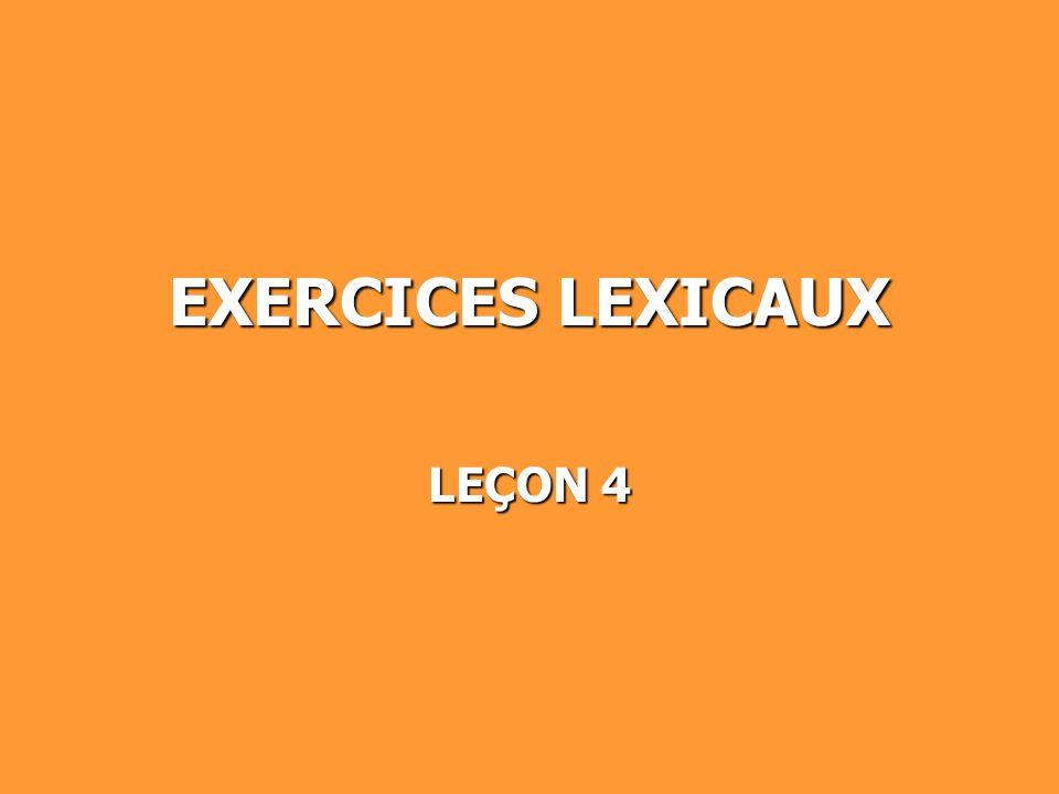 EXERCICES LEXICAUX LEÇON 4
