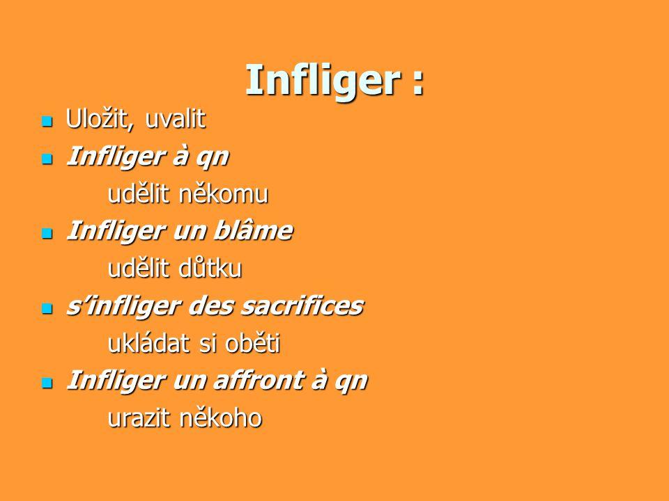 Infliger : Uložit, uvalit Uložit, uvalit Infliger à qn Infliger à qn udělit někomu Infliger un blâme Infliger un blâme udělit důtku s'infliger des sac