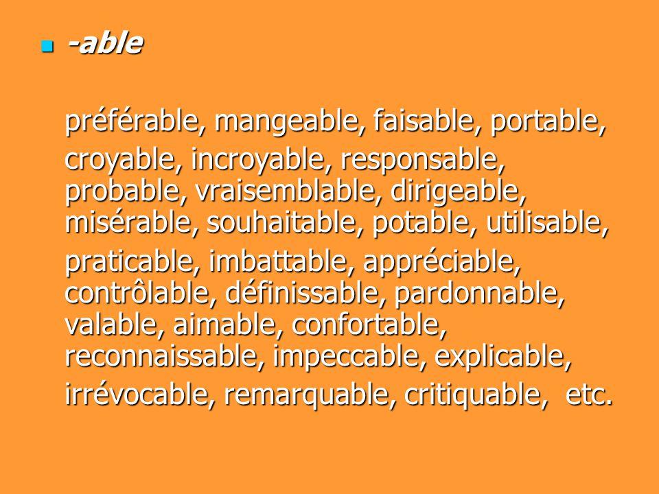 -able -able préférable, mangeable, faisable, portable, croyable, incroyable, responsable, probable, vraisemblable, dirigeable, misérable, souhaitable, potable, utilisable, praticable, imbattable, appréciable, contrôlable, définissable, pardonnable, valable, aimable, confortable, reconnaissable, impeccable, explicable, irrévocable, remarquable, critiquable, etc.