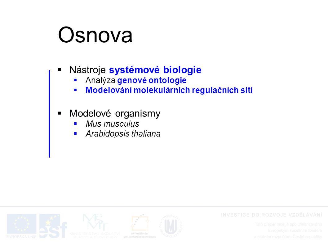  Nástroje systémové biologie  Analýza genové ontologie  Modelování molekulárních regulačních sítí  Modelové organismy  Mus musculus  Arabidopsis thaliana Osnova