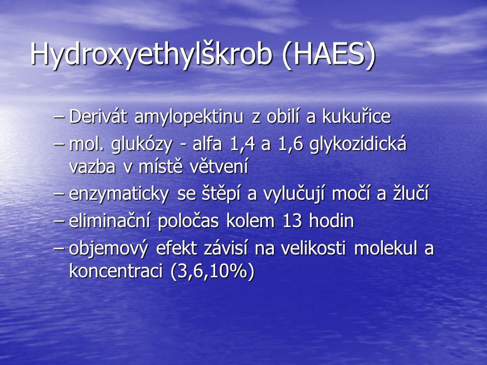 Hydroxyethylškrob (HAES) –Derivát amylopektinu z obilí a kukuřice –mol. glukózy - alfa 1,4 a 1,6 glykozidická vazba v místě větvení –enzymaticky se št