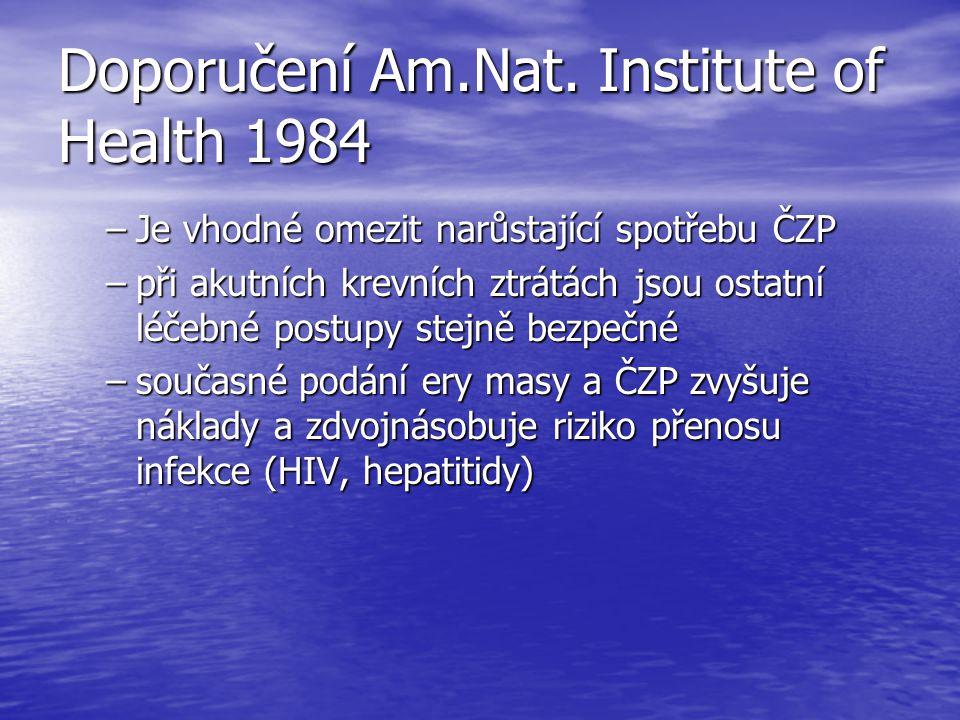 Doporučení Am.Nat. Institute of Health 1984 –Je vhodné omezit narůstající spotřebu ČZP –při akutních krevních ztrátách jsou ostatní léčebné postupy st