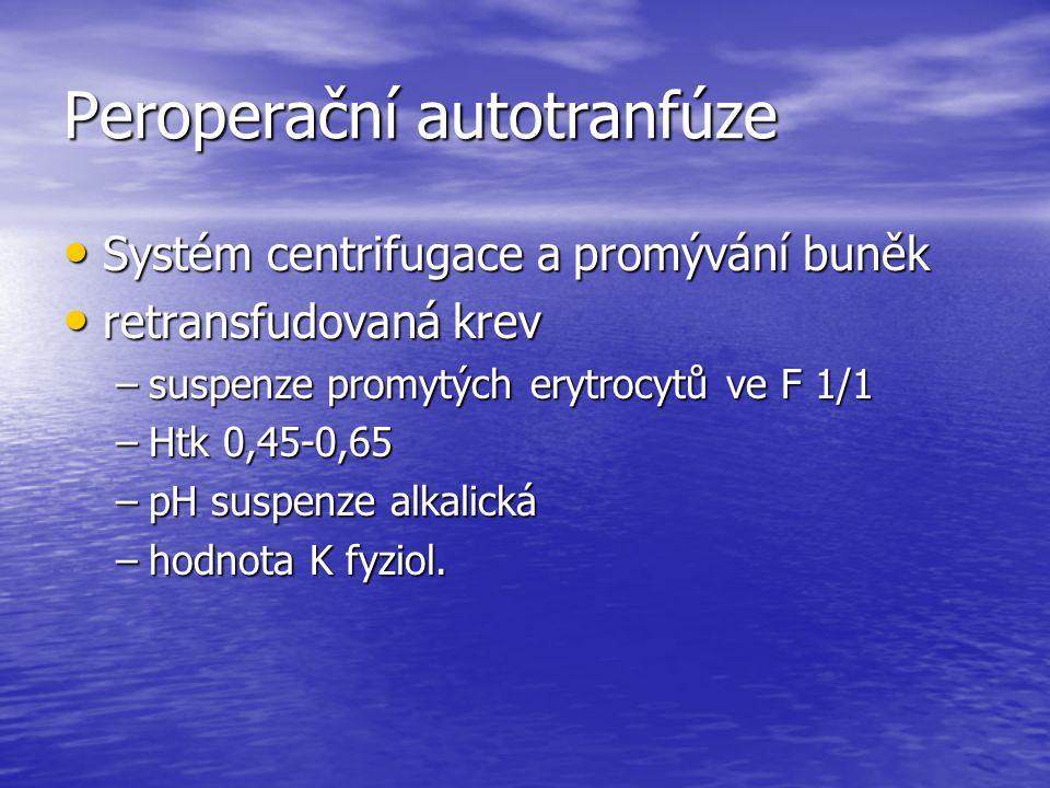 Peroperační autotranfúze Systém centrifugace a promývání buněk Systém centrifugace a promývání buněk retransfudovaná krev retransfudovaná krev –suspen