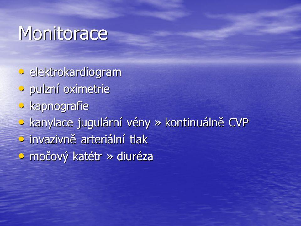 Monitorace elektrokardiogram elektrokardiogram pulzní oximetrie pulzní oximetrie kapnografie kapnografie kanylace jugulární vény » kontinuálně CVP kan