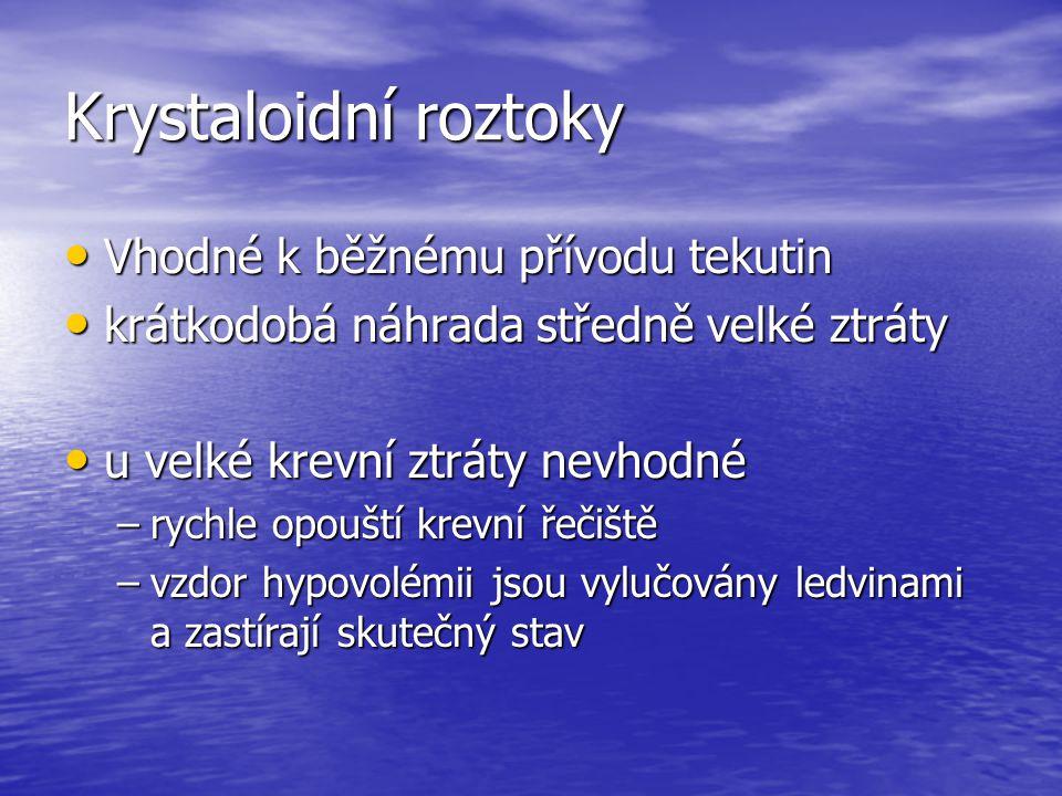 Krystaloidní roztoky Vhodné k běžnému přívodu tekutin Vhodné k běžnému přívodu tekutin krátkodobá náhrada středně velké ztráty krátkodobá náhrada stře
