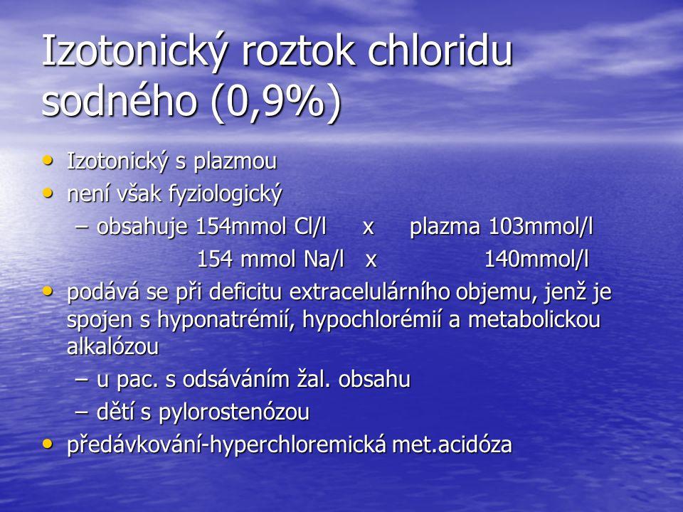 Izotonický roztok chloridu sodného (0,9%) Izotonický s plazmou Izotonický s plazmou není však fyziologický není však fyziologický –obsahuje 154mmol Cl