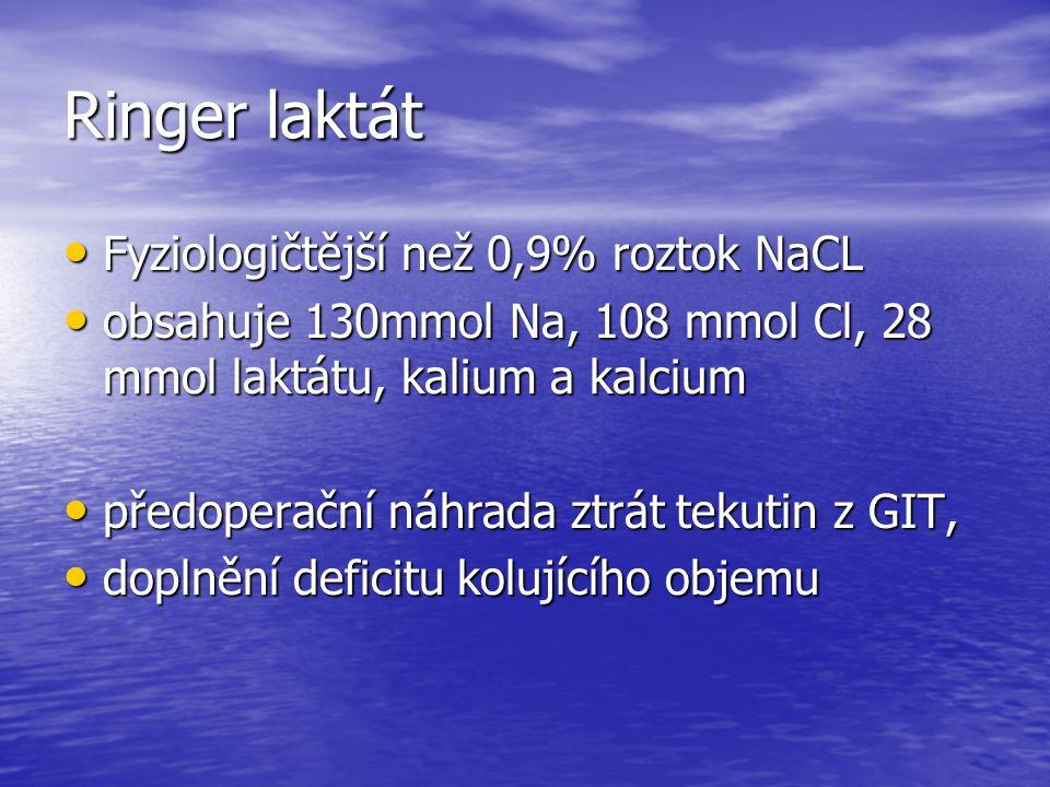 Ringer laktát Fyziologičtější než 0,9% roztok NaCL Fyziologičtější než 0,9% roztok NaCL obsahuje 130mmol Na, 108 mmol Cl, 28 mmol laktátu, kalium a ka