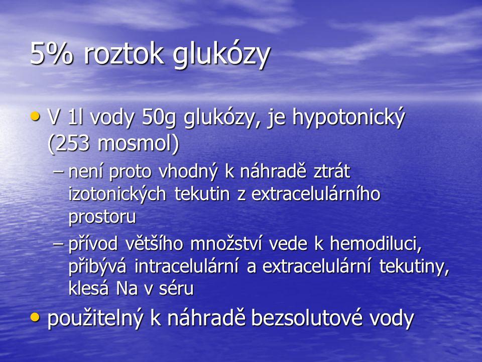 5% roztok glukózy V 1l vody 50g glukózy, je hypotonický (253 mosmol) V 1l vody 50g glukózy, je hypotonický (253 mosmol) –není proto vhodný k náhradě z