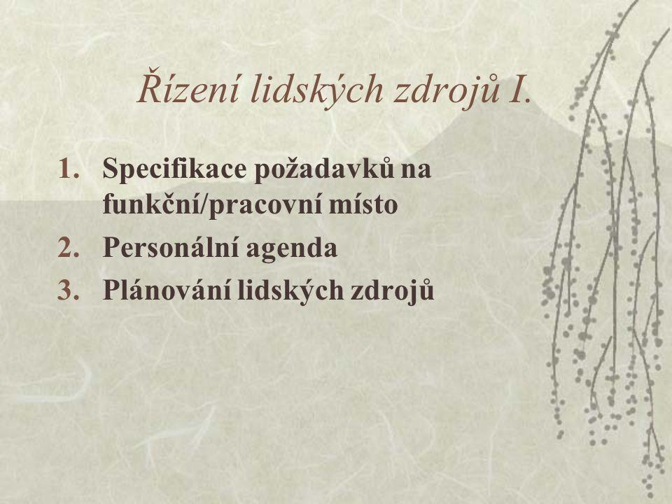 Řízení lidských zdrojů I. 1.Specifikace požadavků na funkční/pracovní místo 2.Personální agenda 3.Plánování lidských zdrojů