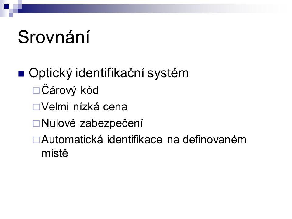 Srovnání Optický identifikační systém  Čárový kód  Velmi nízká cena  Nulové zabezpečení  Automatická identifikace na definovaném místě