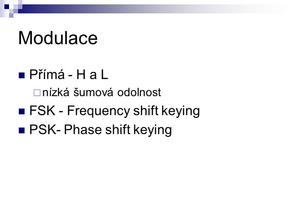 Modulace Přímá - H a L  nízká šumová odolnost FSK - Frequency shift keying PSK- Phase shift keying
