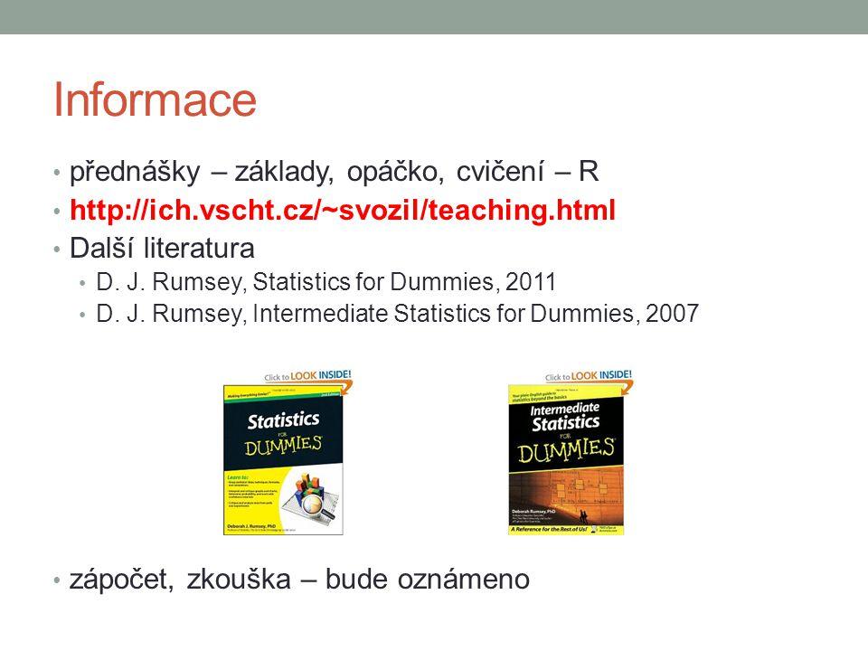 Informace přednášky – základy, opáčko, cvičení – R http://ich.vscht.cz/~svozil/teaching.html Další literatura D.