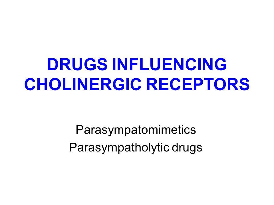 DRUGS INFLUENCING CHOLINERGIC RECEPTORS Parasympatomimetics Parasympatholytic drugs