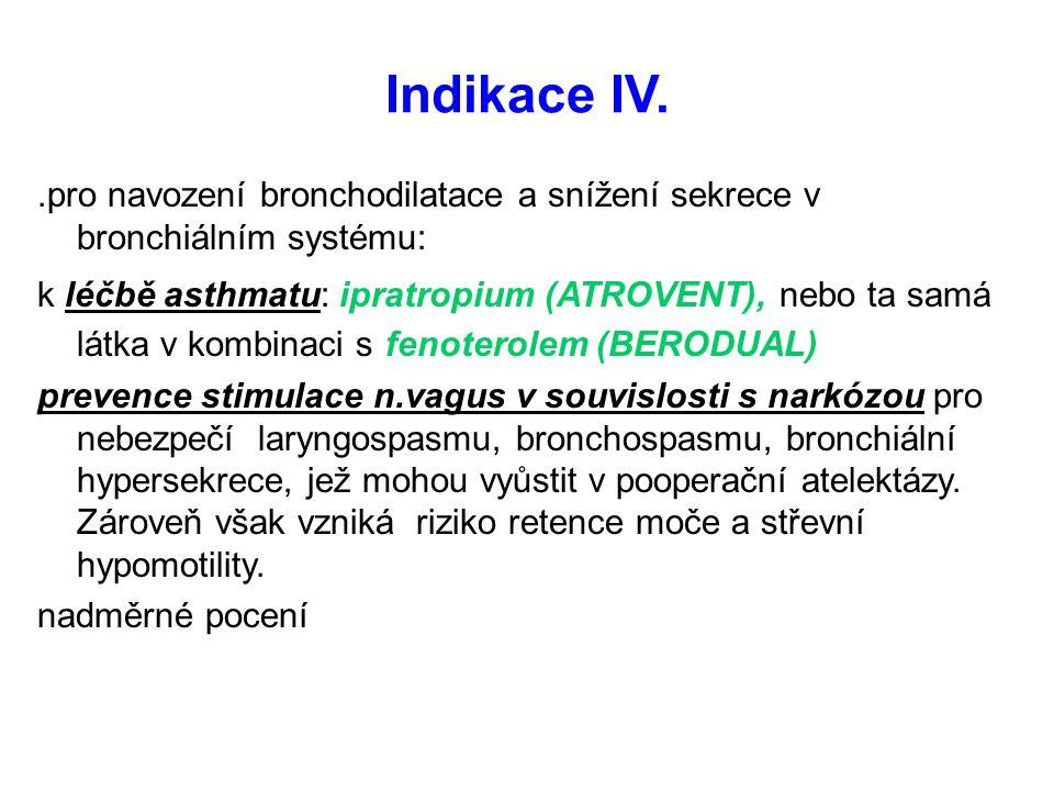 Indikace IV..pro navození bronchodilatace a snížení sekrece v bronchiálním systému: k léčbě asthmatu: ipratropium (ATROVENT), nebo ta samá látka v kom