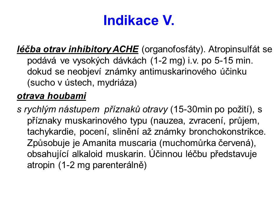 Indikace V.léčba otrav inhibitory ACHE (organofosfáty).