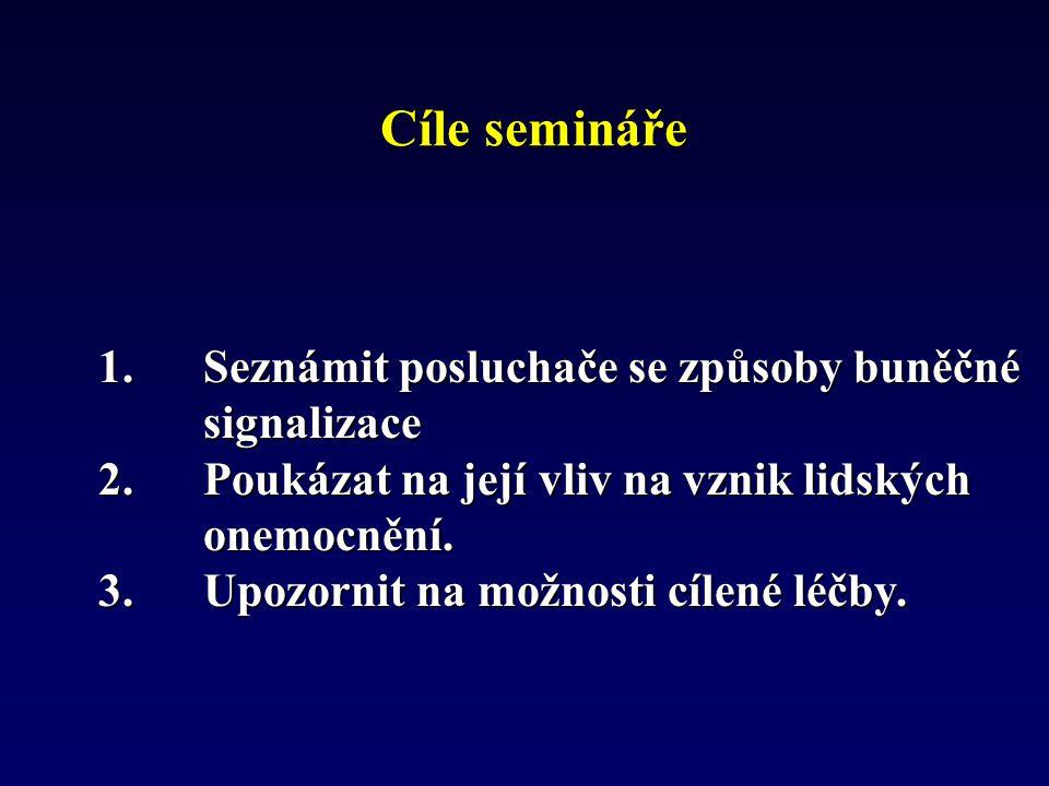 Cíle semináře 1.Seznámit posluchače se způsoby buněčné signalizace 2.